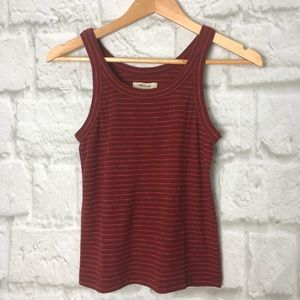 Madewell thick straped ribbed tank top red XXS